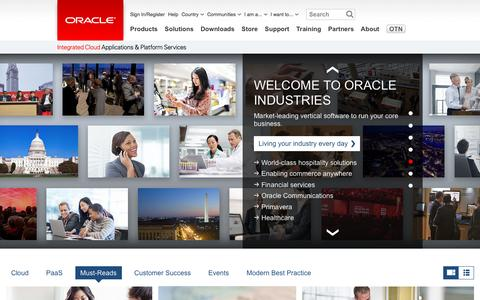 Screenshot of Home Page oracle.com - Oracle | Integrated Cloud Applications and Platform Services - captured Feb. 23, 2016