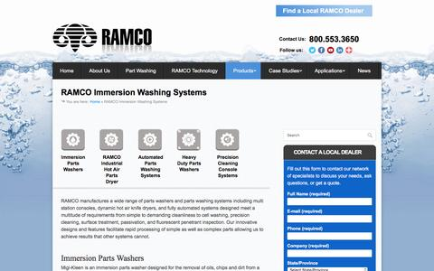 Screenshot of Products Page ramkleen.com - RAMCO Immersion Washing Systems - RAMCO Parts Washers - captured Dec. 10, 2016