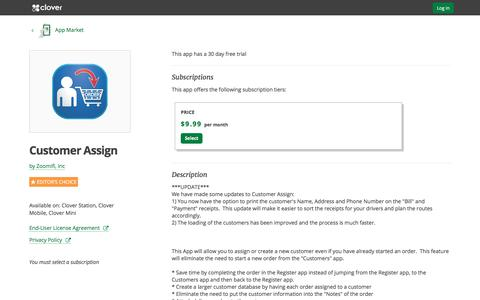Customer Assign by Zoomifi, Inc   Clover App Market   www.clover.com