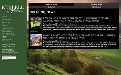 Screenshot of Press Page kebbell.co.uk - Kebbell Homes     Breaking news - captured Feb. 12, 2016