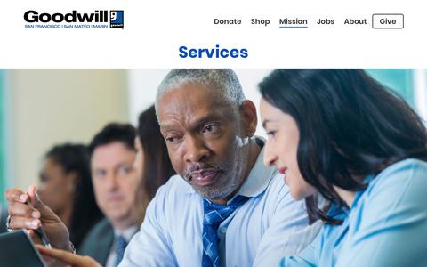 Screenshot of Services Page sfgoodwill.org - Services | Goodwill of San Francisco, San Mateo and Marin - captured July 26, 2018