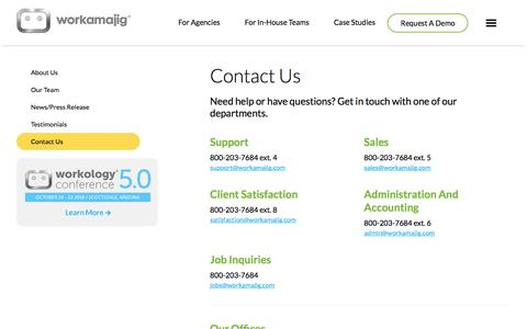 Screenshot of Contact Page workamajig.com - contact-us-6.4 - captured June 25, 2016