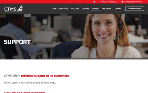 Screenshot of Support Page ctms-itsm.com - Technical IT Support Services from CTMS - captured Sept. 26, 2018