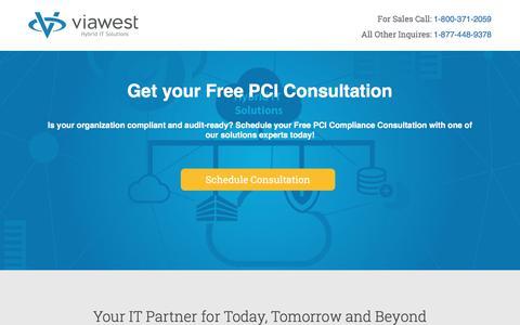 Screenshot of Landing Page viawest.com - PCI Consultation| ViaWest Hybrid IT Solutions - captured July 1, 2017