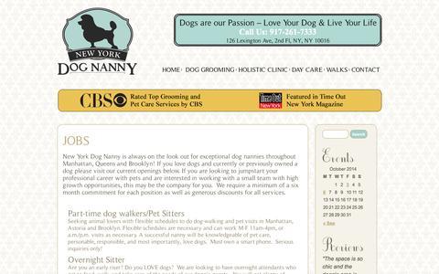 Screenshot of Jobs Page newyorkdognanny.com - Jobs   New York Dog Nanny - captured Oct. 7, 2014
