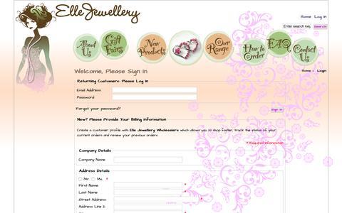 Screenshot of ellejewellery.com.au - Login : Elle Jewellery, Fashion Jewellery Wholesaler - captured June 22, 2015