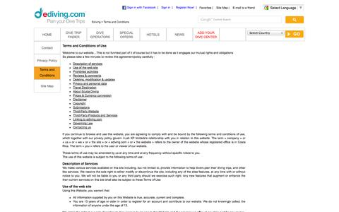 Screenshot of Terms Page ediving.com - Terms and Conditions of Use of the website - captured Oct. 3, 2014