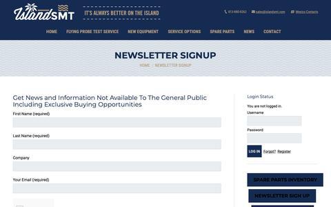 Screenshot of Signup Page islandsmt.com - Newsletter Signup – IslandSMT - captured Oct. 13, 2018