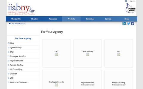 Screenshot of Products Page iiabny.org - For Your Agency - For Your Agency - captured Nov. 26, 2016