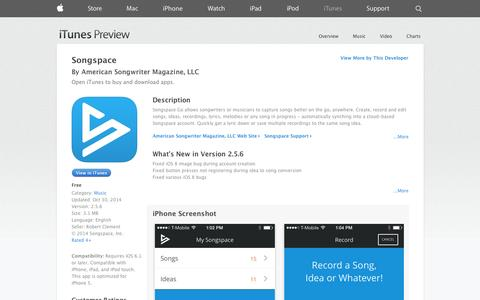 Screenshot of iOS App Page apple.com - Songspace on the App Store on iTunes - captured Oct. 31, 2014