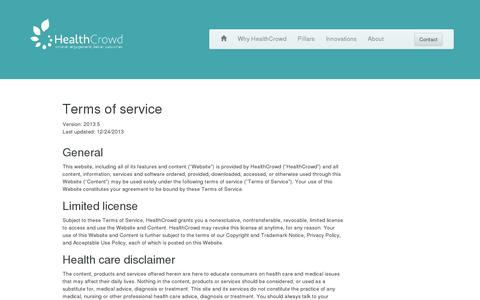 Screenshot of Terms Page healthcrowd.com - HealthCrowd · Terms of Service - captured July 19, 2014