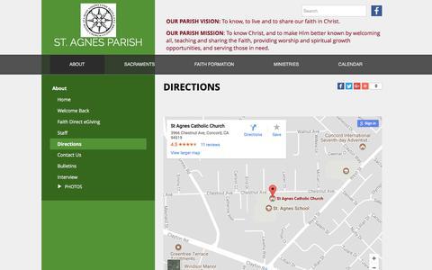 Screenshot of Maps & Directions Page stagnesparish.net - St. Agnes - Directions - captured Nov. 2, 2017