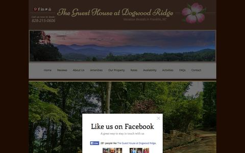 Screenshot of Home Page theguesthouseatdogwoodridge.com - Vacation Rental in Franklin NC | Vacation Homes in the Smoky Mountains - captured Sept. 30, 2014
