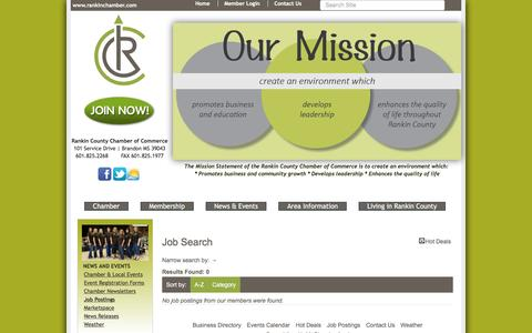 Screenshot of Jobs Page rankinchamber.com - Job Search - News-PublicLayout - Rankin County Chamber of Commerce, MS - captured Nov. 29, 2016