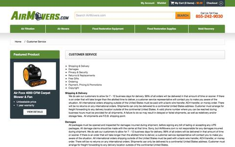 Screenshot of Support Page airmovers.com - Customer Service - captured Oct. 7, 2017