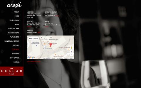 Screenshot of Contact Page araxi.com - Contact | Araxi Restaurant + Oyster Bar - captured Feb. 6, 2016
