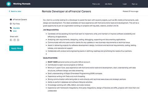 Screenshot of Developers Page workingnomads.co - Remote Developer at eFinancial Careers | Working Nomads - captured July 3, 2019