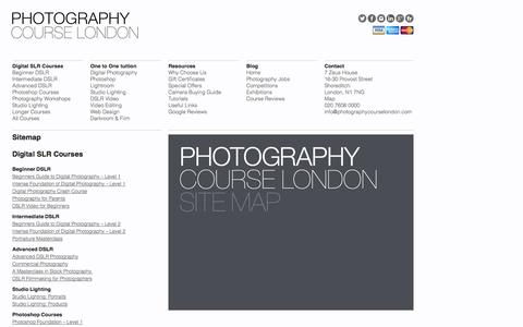 Screenshot of Site Map Page photographycourselondon.com - Sitemap | Photography Course London - captured Sept. 29, 2014