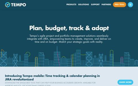 Screenshot of Home Page tempo.io - Tempo for JIRA - Plan, Budget, Track & Adapt in JIRA - captured Nov. 17, 2015