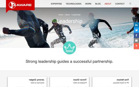 Screenshot of Team Page awareweb.com - Leadership | Aware. A Digital Solutions Agency - captured March 12, 2019