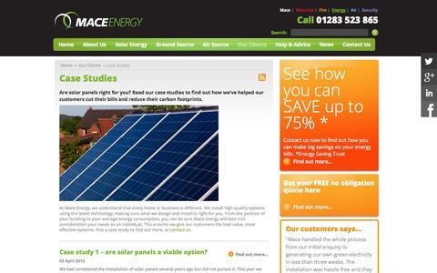 Screenshot of Case Studies Page maceenergy.co.uk - Case studies, green solar and thermal energy contractors |Mace Energy - captured Sept. 30, 2014