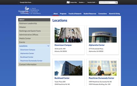 Screenshot of Locations Page gsu.edu - Locations - Robinson College of Business - captured Oct. 22, 2014