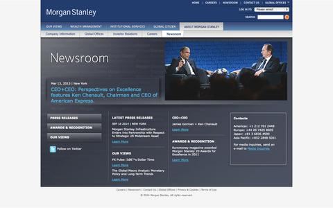 Screenshot of Press Page morganstanley.com - Newsroom - captured Sept. 18, 2014
