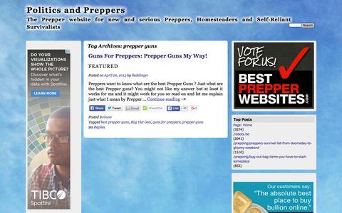 Screenshot of politicsandpreppers.com - prepper guns | Politics and Preppers - captured April 14, 2016