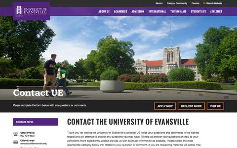 Screenshot of Contact Page evansville.edu - Contact UE - Contact the University of Evansville - University of Evansville - captured Sept. 27, 2015