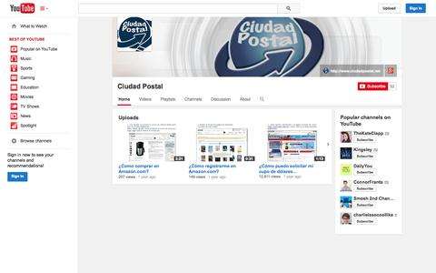 Screenshot of YouTube Page youtube.com - Ciudad Postal  - YouTube - captured Oct. 22, 2014