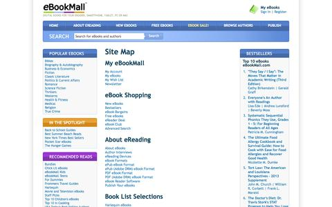 Screenshot of Site Map Page ebookmall.com - Site Map - eBookMall - captured Sept. 19, 2014