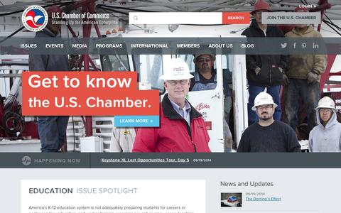 Screenshot of Home Page uschamber.com - U.S. Chamber of Commerce - captured Sept. 19, 2014