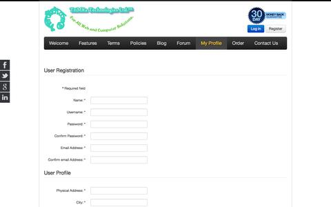 Screenshot of Signup Page trimratech.com - Sign Up - TriMRaTech.Com | free web hosting, web design, domains - captured Oct. 8, 2014