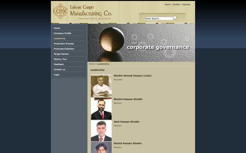Screenshot of Team Page lahorecarpet.com - Leadership - Lahore Carpet | Carpets | Carpets Manufacturer | Hand Made Carpets | Hand Knotted Carpets | Carpets Pakistan - captured Oct. 1, 2014