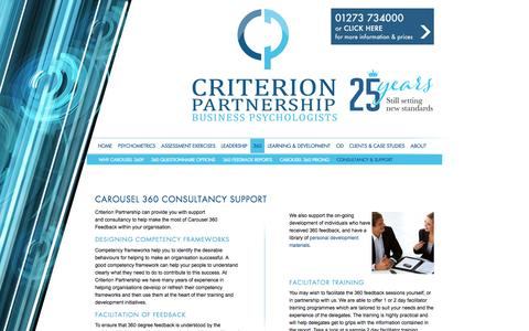 Screenshot of Support Page criterion.co.uk - CAROUSEL 360 CONSULTANCY SUPPORT - captured May 22, 2017