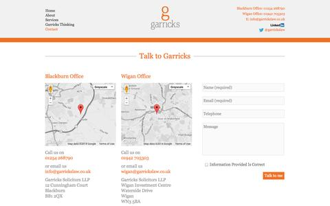 Screenshot of Contact Page garrickslaw.co.uk - Contact Garricks | Garricks Solicitors - captured Oct. 2, 2014