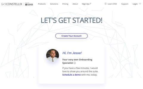 Screenshot of Signup Page constellix.com - Sign Up for Constellix in Minutes | Constellix - captured Nov. 5, 2018