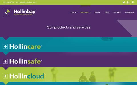 Screenshot of Services Page hollinbay.com - Hollinbay Services - Hollinbay Hollinbay - services - captured Sept. 29, 2018