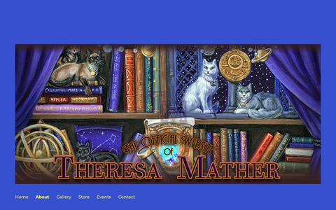 Screenshot of About Page rockfeatherscissors.com - About – The Official Website of Artist: Theresa Mather - captured Oct. 26, 2018