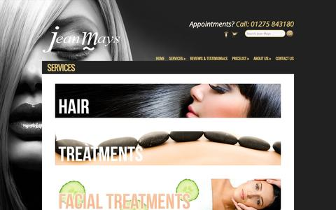 Screenshot of Services Page jeanmays.co.uk - Hair & Beauty Treatments from Jean Mays in Portishead & Bristol - captured Oct. 27, 2014