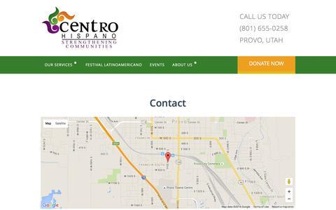 Screenshot of Contact Page centrohispanouc.org - Contact Centro Hispano - captured Jan. 27, 2016