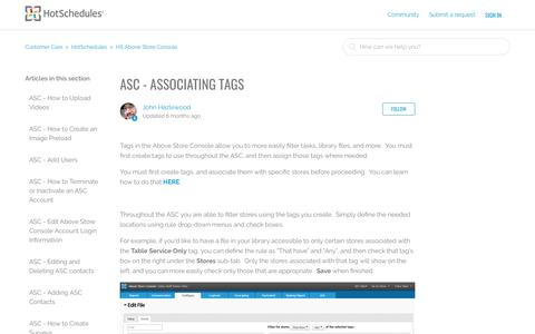 Screenshot of Support Page hotschedules.com - ASC - Associating Tags – Customer Care - captured May 12, 2017