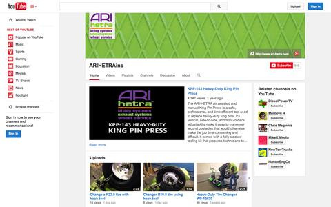 Screenshot of YouTube Page youtube.com - ARIHETRAinc  - YouTube - captured Oct. 23, 2014