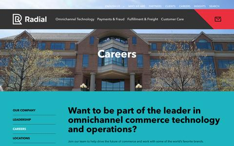 Screenshot of Jobs Page radial.com - Careers | Radial - captured July 19, 2016