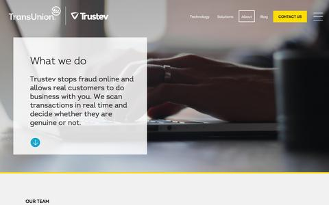 Screenshot of About Page trustev.com - TransUnion | Trustev -- About us - captured Feb. 19, 2016
