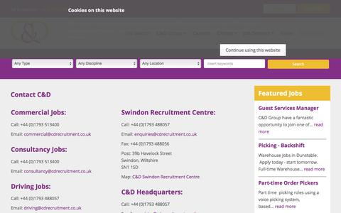 Screenshot of Contact Page cdrecruitment.co.uk - Swindon Jobs | C&D Group | Contact C&D Today - captured July 6, 2017