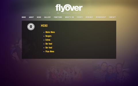 Screenshot of Menu Page flyoverbar.com.au - MENU | Flyover Bar Sydney CBD Westpac place near food court lunch special - captured Sept. 30, 2014