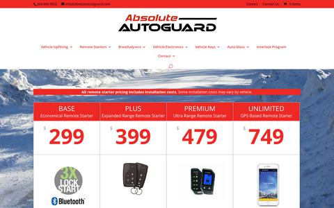 Screenshot of Home Page absoluteautoguard.com - Vehicle Upfitting, Remote Starters & Auto Security - Absolute Autoguard - captured July 28, 2018