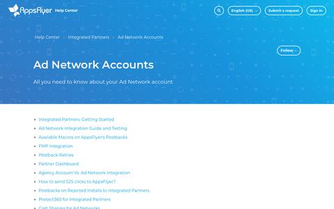 Screenshot of Support Page appsflyer.com - Ad Network Accounts – Help Center - captured June 14, 2019