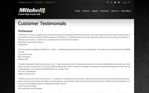 Screenshot of Testimonials Page mitchell1.com - Testimonials - Mitchell 1 - captured Sept. 21, 2018